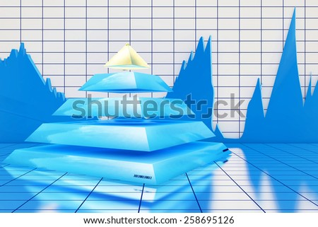 Pyramide statistics - 3d rendered illustration - stock photo