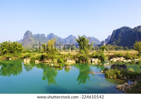 """Quay Son"" river in Cao Bang, Vietnam. - stock photo"