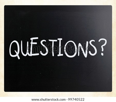 """""""Questions?"""" handwritten with white chalk on a blackboard - stock photo"""