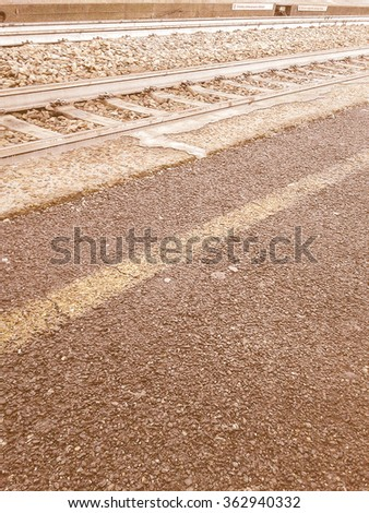 Railway railroad tracks for train public transport vintage