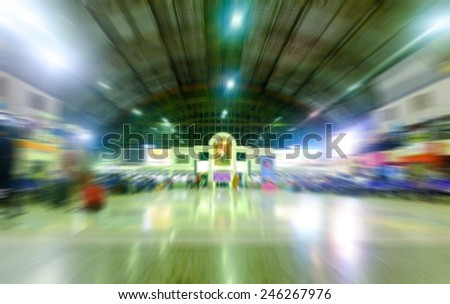 Railway Station at night ,radial blur effect - stock photo