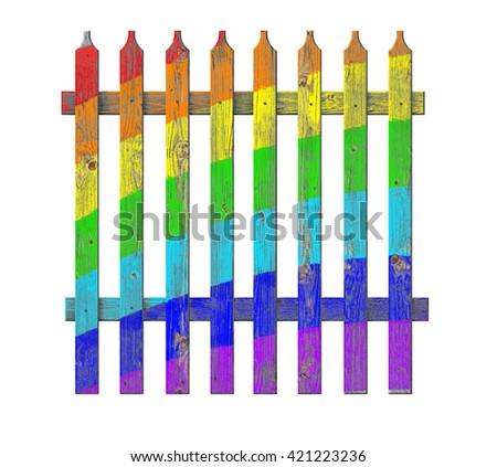 Rainbow wooden fence. 3D illustration                               - stock photo