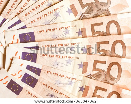 Range of 50 Euro banknotes useful as a background vintage
