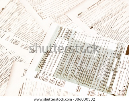 Range of various blank USA tax forms vintage - stock photo