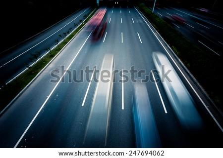 rapid city traffic,motion cars. - stock photo