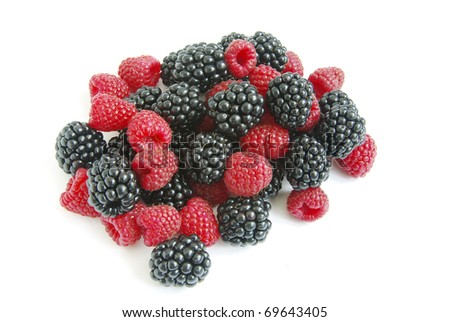raspberry and blackberry - stock photo