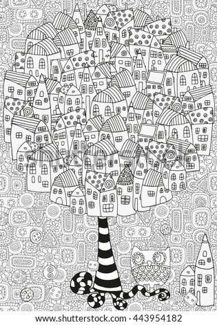 Raster copy. Coloring book page for adult and children. Artistic tree with houses.  Pattern for coloring book. Made by trace from sketch. Ink pen. Zentangle. Black and white pattern. - stock photo