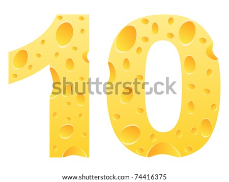 (raster image) number ten made of cheese - stock photo