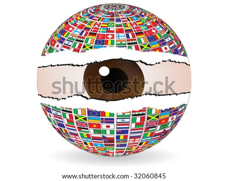 (raster image of vector) abstract eye - stock photo