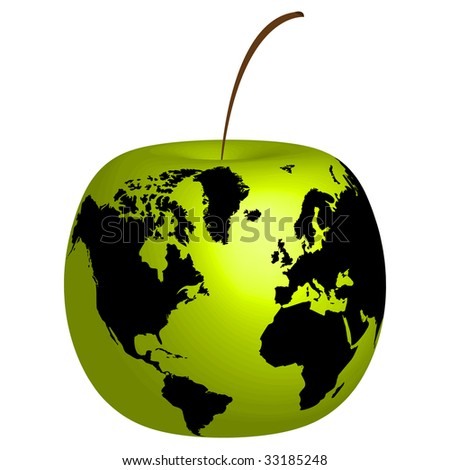 (raster image of vector) Apple with world map on it