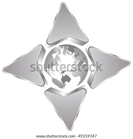 (raster image of vector) direction of the earth - stock photo