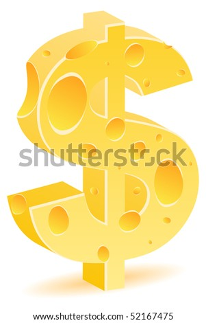 (raster image of vector) dollar cheese icon - stock photo