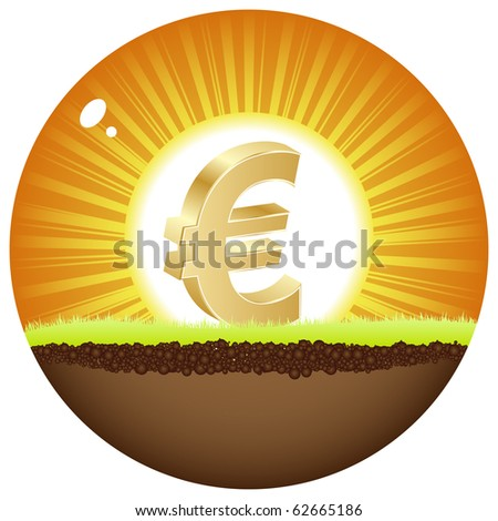 (raster image of vector) euro view in sunshine - stock photo