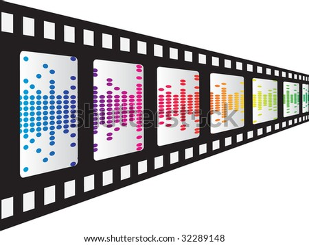 (raster image of vector) filmstrip with pixels inside - stock photo