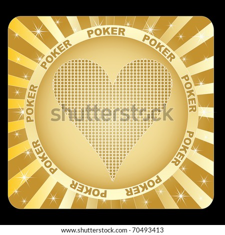 (raster image of vector) golden sticker with poker element