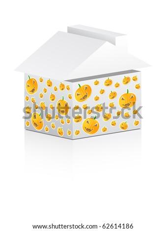(raster image of vector) halloween house - stock photo