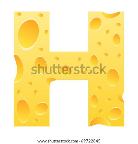 (raster image of vector) letter h - stock photo