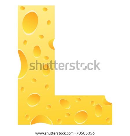 (raster image of vector) letter l - stock photo