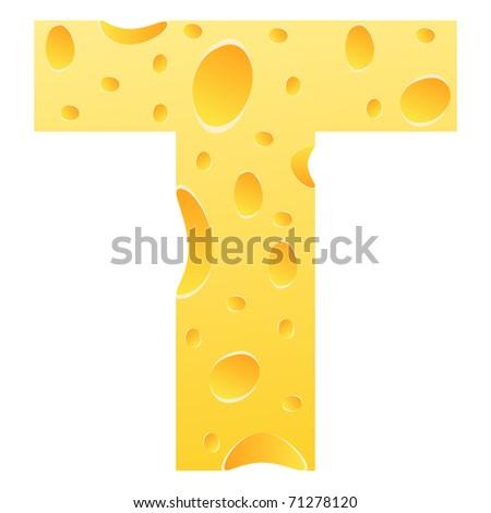 (raster image of vector) letter t - stock photo