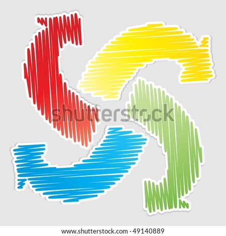 (raster image of vector)  recycle arrows - stock photo