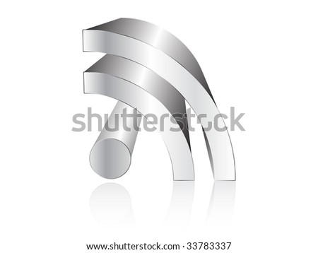 (raster image of vector) rss silver icon - stock photo