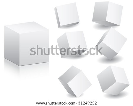 (raster image of vector) white boxes in different position vector illustration - stock photo