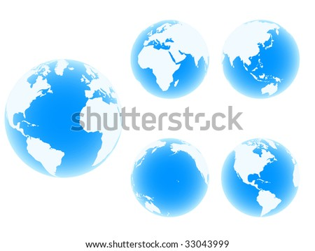 (raster image of vector) world globes in different position