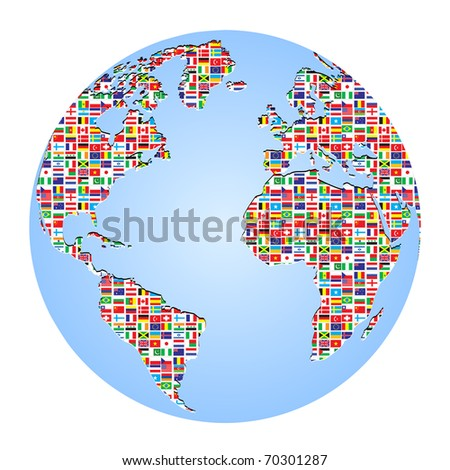 (raster image of vector) world map with country flags on it - stock photo
