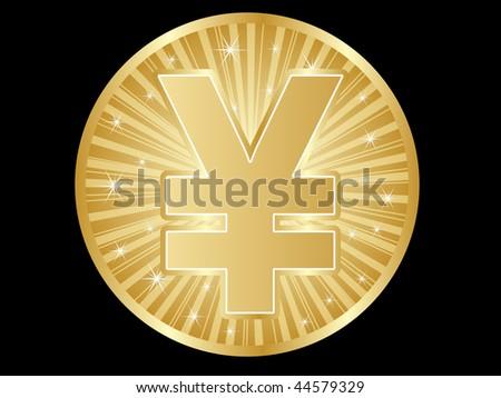 (raster image of vector) yen coins - stock photo