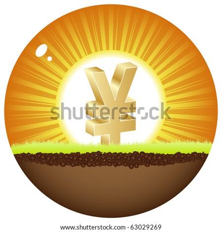 (raster image of vector)yen view in sunshine - stock photo
