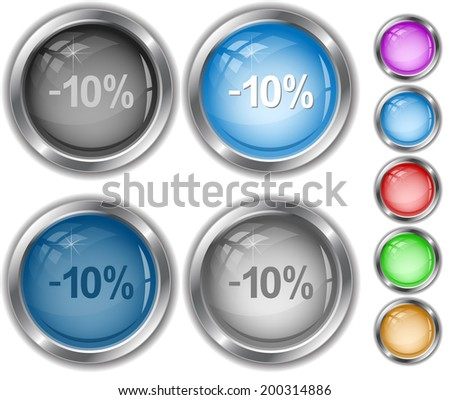 -10%. Raster internet buttons.  - stock photo