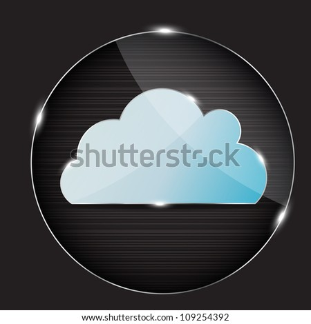 Raster version glass button with cloud icon - stock photo