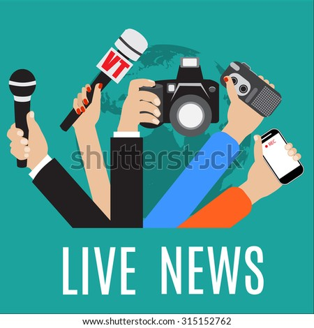 Raster version. live report concept, live news, hands of journalists with microphones and tape recorders. - stock photo
