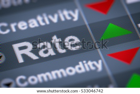 """Rate"" on the screen. Up."