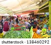 RAVENNA, ITALY MAY 21: locals and tourists at the Wednesday outdoor market. The place is very popular in the city and attracts thousands of people. May 21, 2005 Ravenna Italy - stock photo