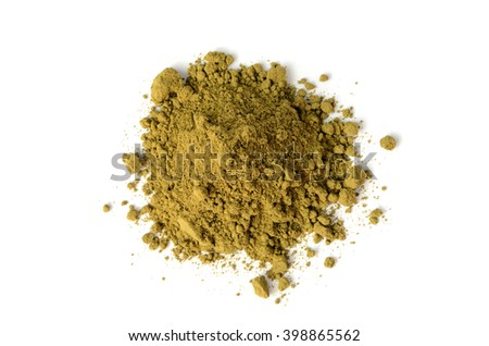 raw organic hemp protein powder isolated on white
