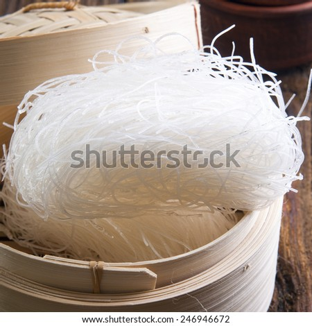 Raw Rice Noodles close up - stock photo
