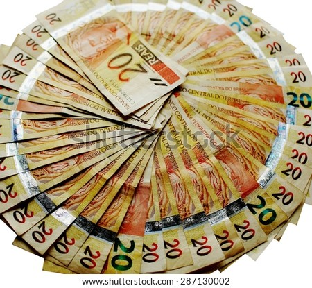 20 real notes of the Brazil Brazil - stock photo