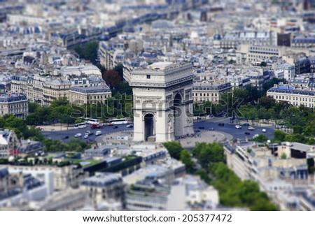 Realistic Miniaturized Model of Arch of Triumph./Paris. Tilt-Shift model - stock photo