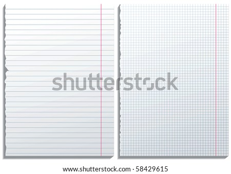 2 realistic paper pages - stock photo