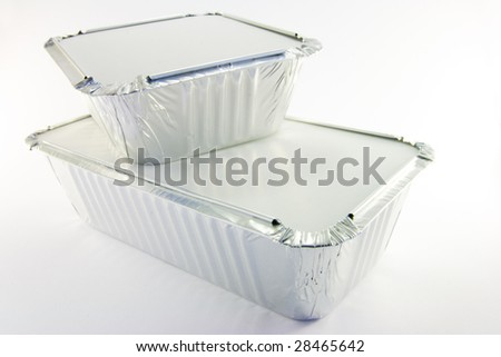 1 rectangle and 1 square catering trays - stock photo