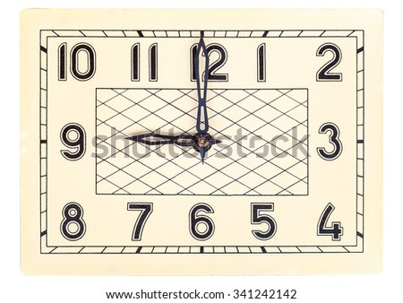 Rectangular art deco design clock face showing nine o'clock isolated over white - stock photo