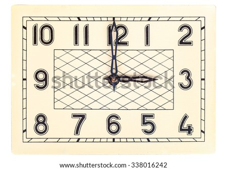 Rectangular art deco design clock face showing three o'clock isolated over white - stock photo