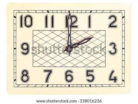 Rectangular art deco design clock face showing two o'clock isolated over white - stock photo