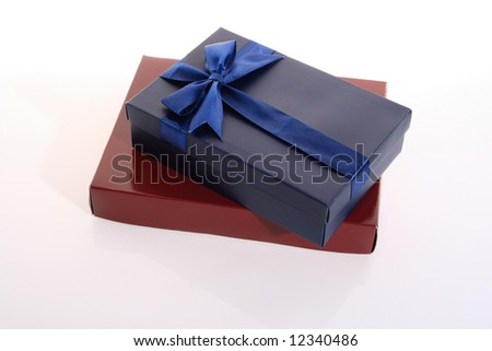 red   and  blue   color      gift     box  with  beautiful  ribbon