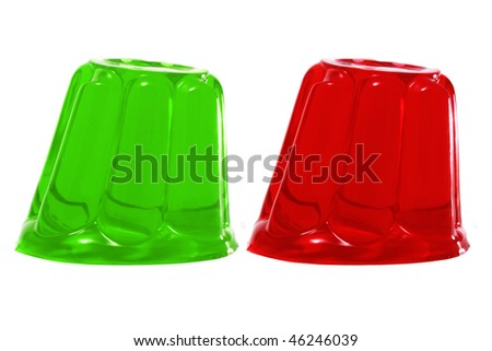 red and green gelatin on a white background - stock photo