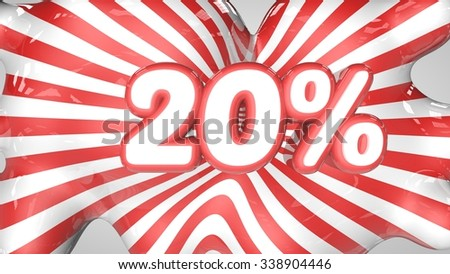 20% red and white stripes