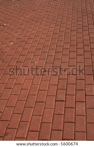 Red block paving - stock photo