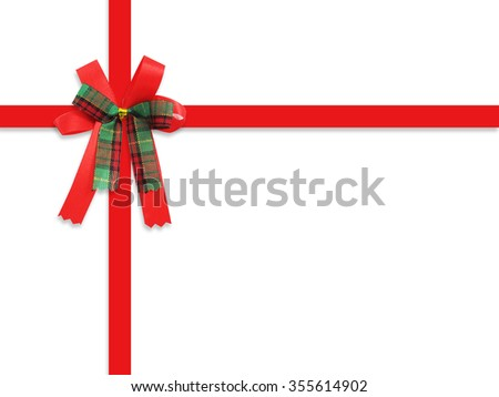 red bow ribbon on white background. Clipping path - stock photo