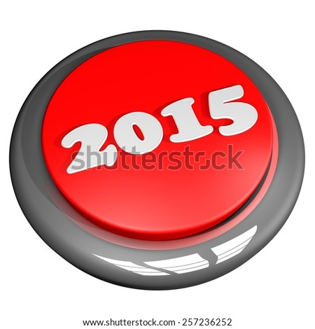 2015 red button, isolated over white, 3d render - stock photo
